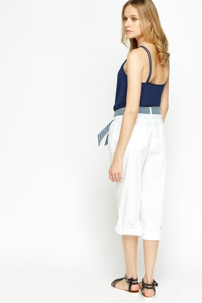 Cropped Cotton Trousers With Stripy Belt