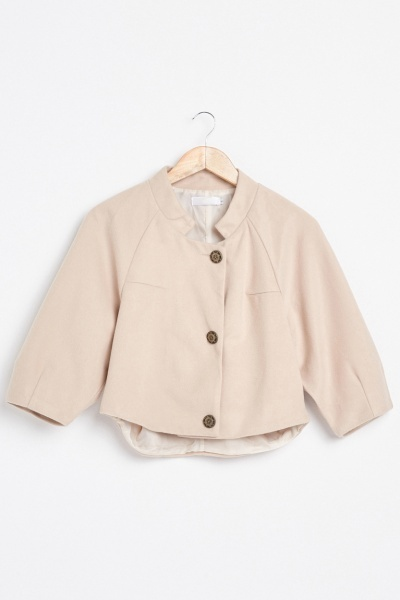Raglan Sleeve Crop Pea Jacket