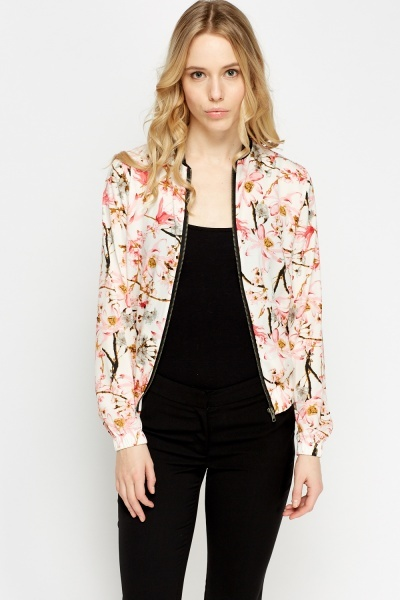 Flower Print Contrast Light Bomber Jacket