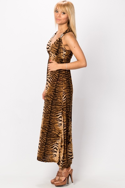 Animal Print Chain Strap Maxi Dress
