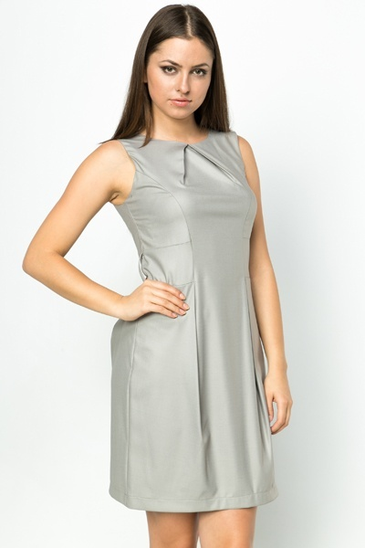 Pleated Panel Office Dress