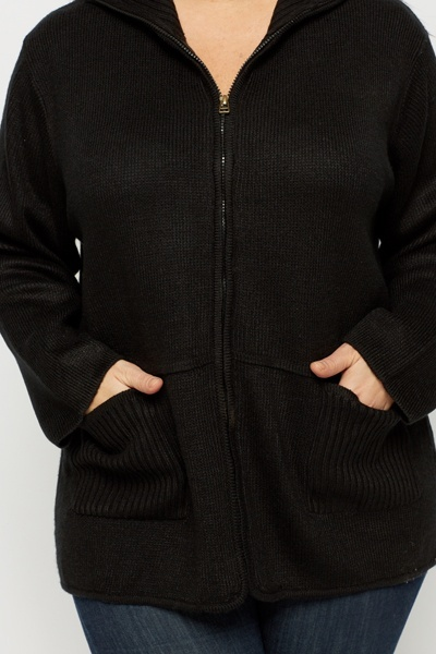 High Neck Pocket Front Zip Cardigan