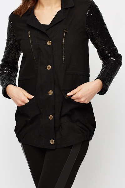 Sequin Sleeve Jacket