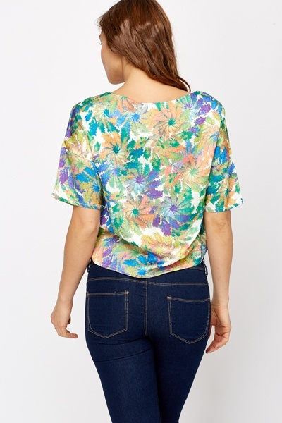 Multi Leaf Print Crop Top