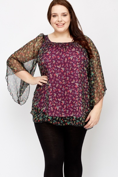 Two Tone Batwing Sleeves Tunic