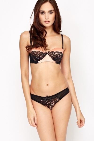 Two Tone Overlay Push Up Bra And Brief Set