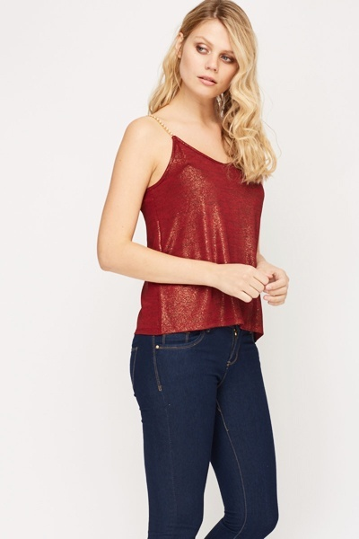 Chain Strap Metallic Cami Top