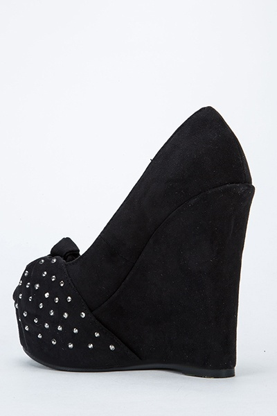 Suedette Diamante Knot Wedges