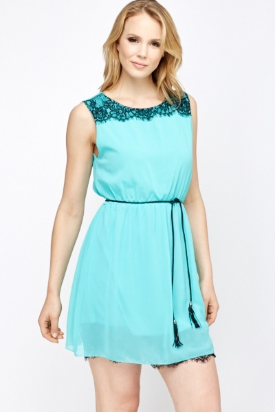 Lace Trim Tassel Belt Skater Dress