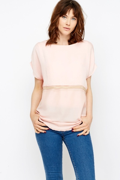 Studded Trim Overlay Top