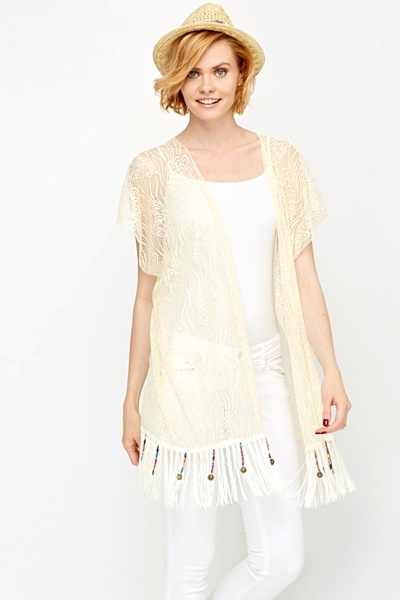 Bead Tassel Lace Cover Up