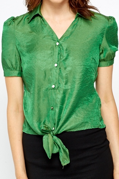 Green Tie Up Hem Blouse