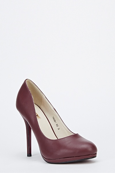 Faux Leather Tapered Heels