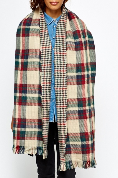 Reversible Check Large Scarf