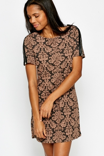 Ornate Zip Detail Shift Dress