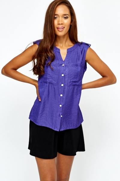 Sleeveless Crinkle Effect Shirt