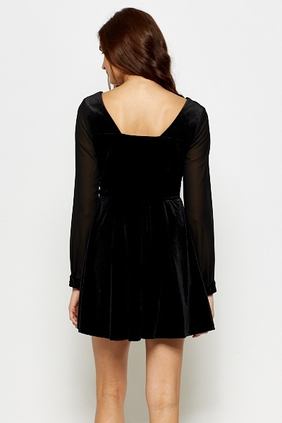 Velveteen Sheer Sleeve Skater Dress