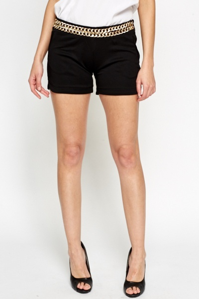 Black Chain Front Shorts