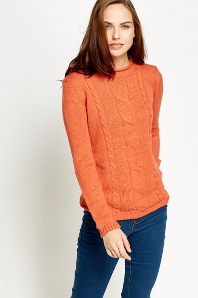 High Neck Plait Cable Knit Jumper