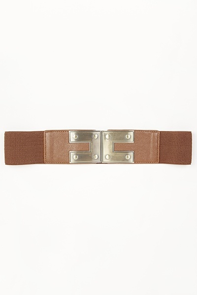 Gold Tone Buckle Elastic Belt