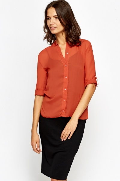 High Neck Shirred Blouse