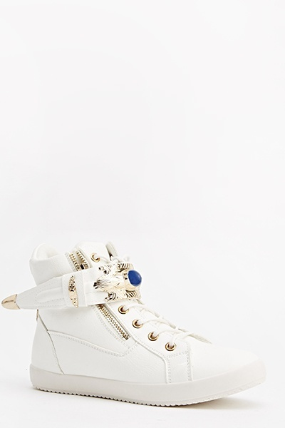Faux Leather Embellished Trainers