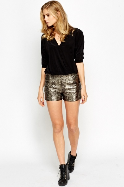 Metallic Mock Croc Hotpants