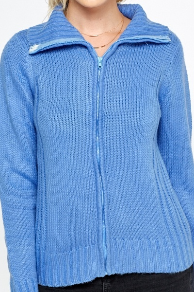 Ribbed Blue Knit Cardigan