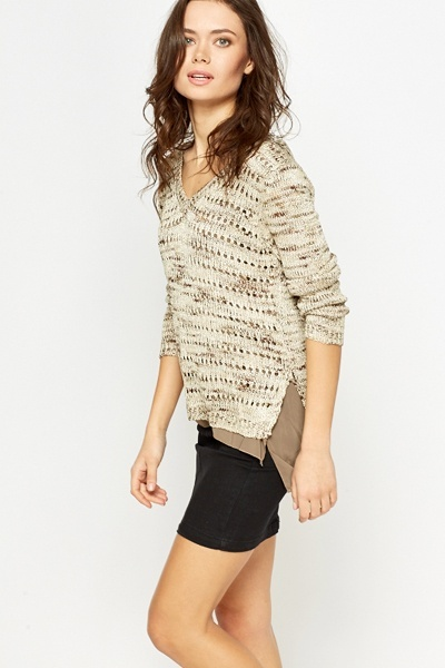 Contrast Metallic Knit Top