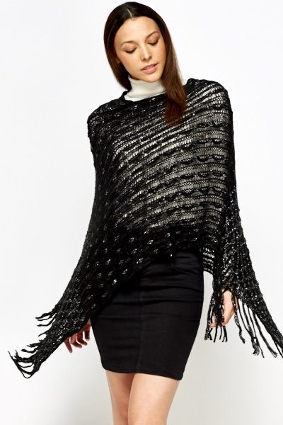 Loose Knit Fringed Poncho