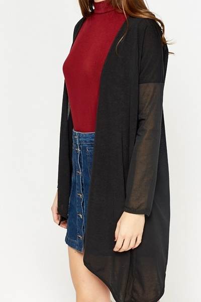 Black Open Asymmetric Cardigan