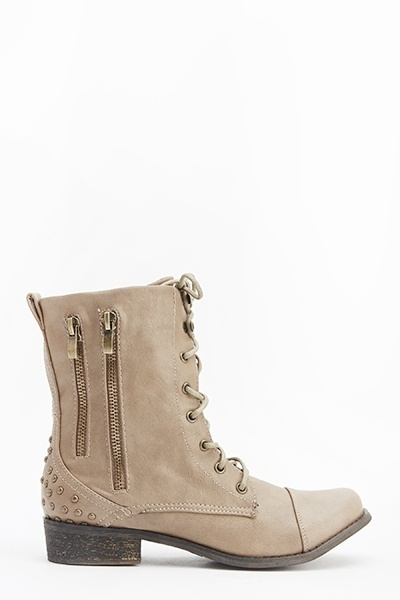 Beige Studded Lace Up Boots