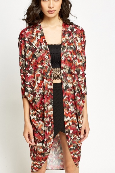 Contrast Pattern Long Cardigan