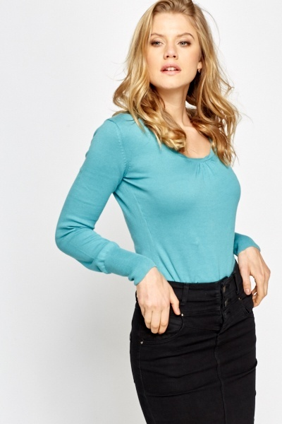 Basic Ruched Neck Jumper
