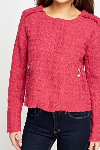 Textured Round Neck Jacket