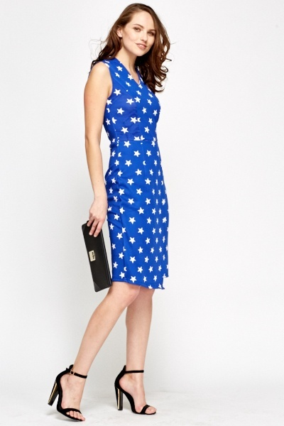 Star Print Overlay Dress
