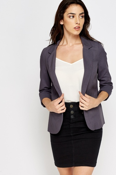 Cropped Sleeve Casual Blazer