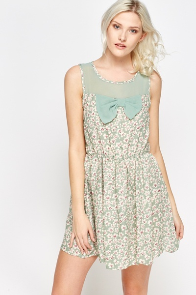 Bow Front Printed Dress