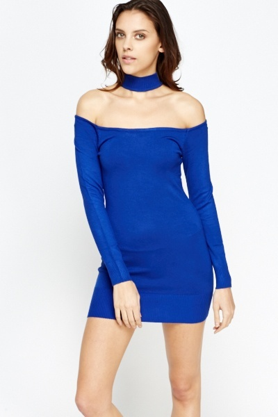 Choker Neck Bodycon Jumper Mini Dress