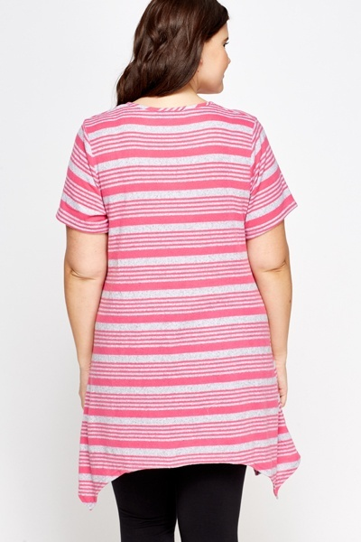 Striped Knit Asymmetric Top