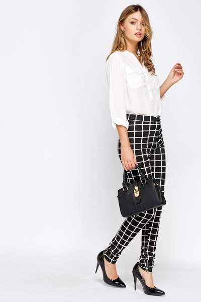 High Waist Grid Check Trousers
