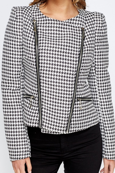 Houndstooth Print Cropped Jacket