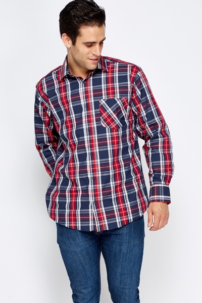 Navy Tartan Cotton Shirt