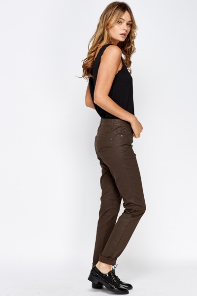 Wax Coated Brown Jeans