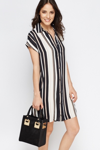 Black Multi Striped Shirt Dress