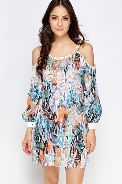 Chain Trim Mock Croc Print Dress