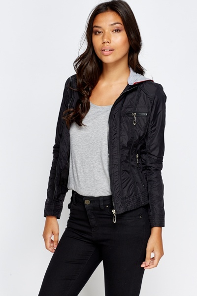 Contrast Hooded Jacket