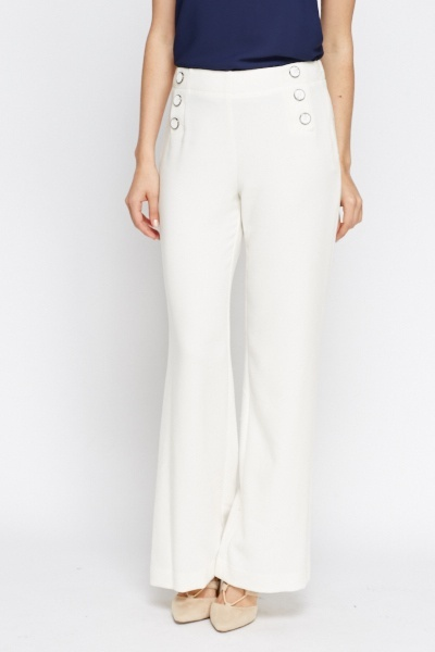 Cream High Waisted Trousers