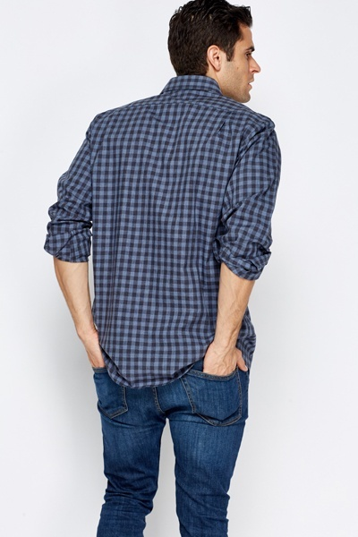 Grid Check Middle Blue Shirt