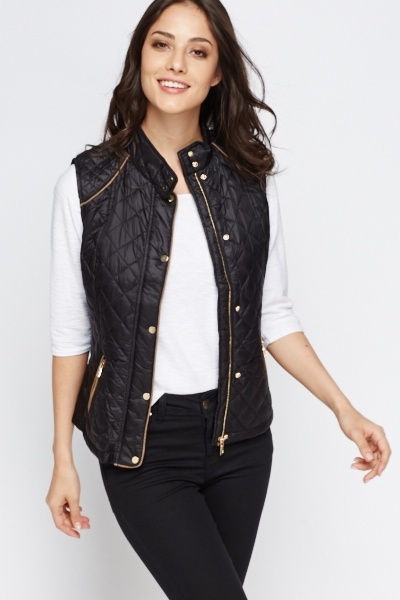 Quilted Gold Trim Gilet